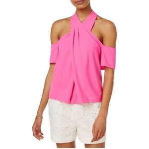 Rachel Roy Hot pink off the shoulder top